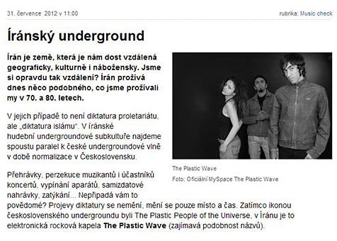 Interview about the Iranian underground music - Czech Radio Wave